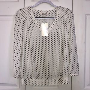 Blk/Wt Polka Dot 3/4 Sleeve Blouse Medium
